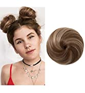 Fake Hair Buns Extensions Clip in Donut Chignon Synthetic Hairpieces Updo Brown Ballet Bun for Wo...
