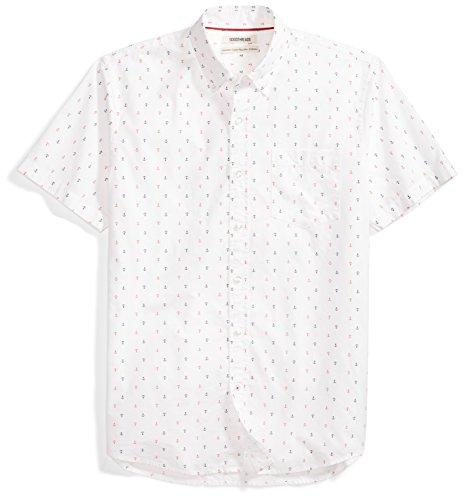Goodthreads Men's Standard-Fit Short-Sleeve Printed Poplin Shirt, White Anchor, Large