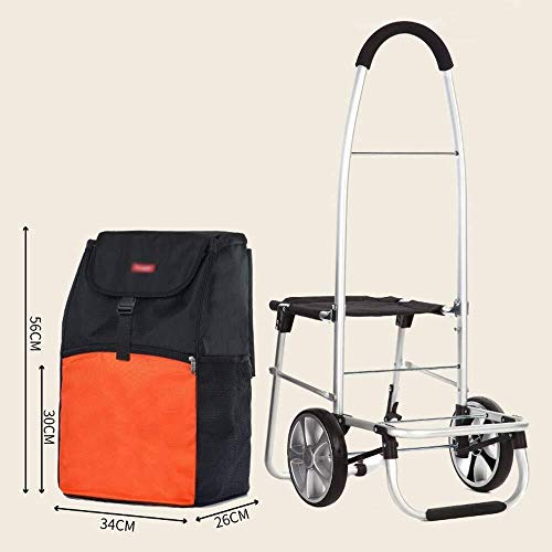 Collapsible Shopping Cart Solid with Insulated Cooling Bag Large Capacity Multi-Function Luggage Cart with Wheels Detachable Backpack Shopping Trolley Color : C ZBM-ZBM Shopping Trolley