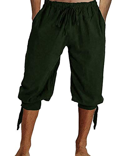 Tenkilo Mens Renaissance Pirate Costume Medieval Pants Viking Cosplay Knicker Knee Length Cotton Linen Shorts Army Green