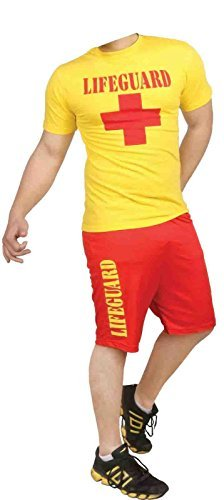 Men Lifeguard T-Shirt and Short Set Beach Bay Life Saver Costume (Men: X-Large) by FNA (Life Saver Costume)
