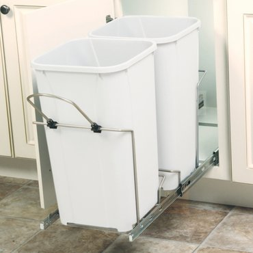 11 in. x 22 in. x 18.75 in. 27 Qt. In-Cabinet Double Soft-Close Bottom-Mount Pull-Out Trash Can- Platinum