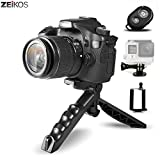 Zeikos Mini Tripod Tabletop Stand w/Soft Pistol Grip Set, Comes with Bluetooth Remote Control Camera Shutter, Smartphone - iPad - GoPro Mount