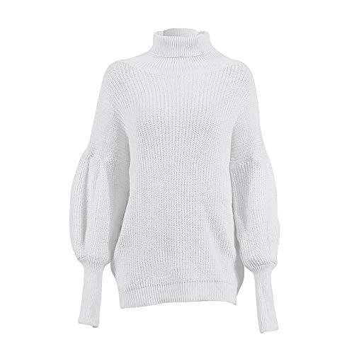 Con Camicia Femminile Lavorata E Lunghe A Maglione Bianca Maniche Unita Tinta Moda Alikeey Invernale Alto Maglia Collo vRwFv