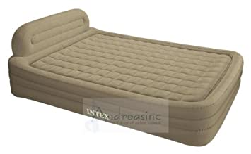 intex deluxe queen size frame bed air mattress