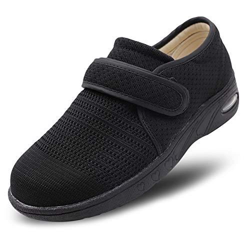 (CHUANGLI Women Edema Shoes Breathable Air Cushion Sneakers Adjustable Elderly Walking Shoes for Diabetic Arthritis Swollen Feet Black)
