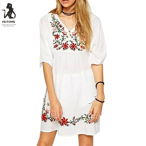 Price comparison product image Women Dress,  Ninasill  Hot Sale ! Mexican Ethnic Embroidered Pessant Hippie Blouse Gypsy Boho Mini Skirt Blouse Tops (L, White)