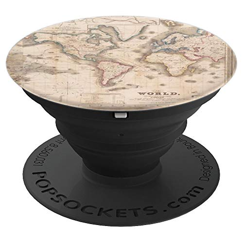 World Adventure Earth Globe Map 1850 for Men and Women Globe - PopSockets Grip and Stand for Phones and Tablets