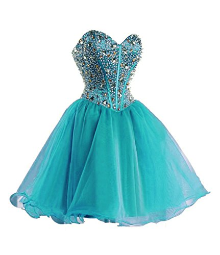 Homecoming Dress Teal (Vantexi Women's Short Organza Formal Prom Homecoming Dresses Teal 24)