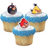 Angry Birds 12pc Cupcake Rings Topper – Birthday Party Favors – Black, Yellow, Red Birds., Health Care Stuffs