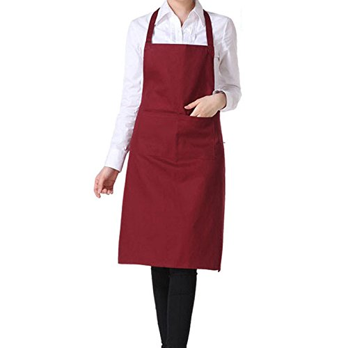 Womens Mens Solid Cooking Chef Kitchen Restaurant Bib Apron Dress with 2 Pockets (Color: Wine Red) N@N