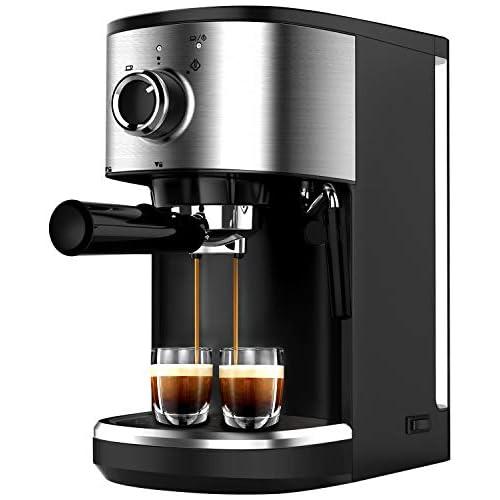 chollos oferta descuentos barato Bonsenkitchen Cafetera Espresso Máquina de Café Espresso de Acero Inoxidable Presión 15 Bares 1450 W Manual Cafetera Profesional para Espresso y Capuccino CM8902 1 25L