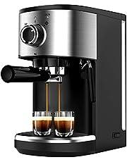 Bonsenkitchen Espressomachine met zeefhouder, 1450 W, hoog vermogen, roestvrijstalen koffiezetapparaat, 15 bar, zeefhouder voor espresso, cappuccino en latte machiato, 1 of 2 koppen (1,25 l)