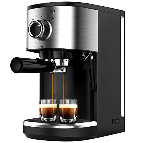 Bonsenkitchen Cafetera Espresso, Máquina de Café Espresso de Acero Inoxidable, Presión 15 Bares, 1450 W, Manual Cafetera…