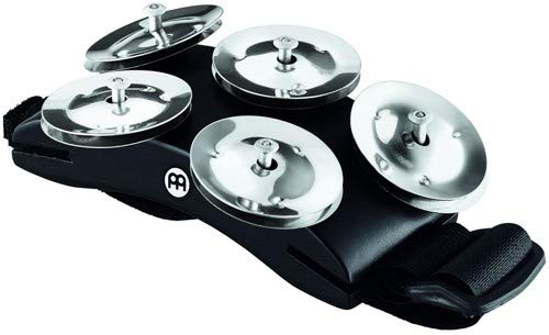 Meinl Percussion CFT5-BK Cajon Foot Tambourine with Steel Jingles, Black