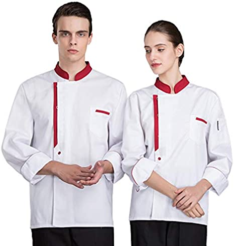 XRRa&XF Camisa de Chef Cocina Manga Larga para Verano para Hombres y Mujeres Chaqueta de Cocinero Camarero Transpirable y Cómodo,Blanco,XL: Amazon.es: Deportes y aire libre
