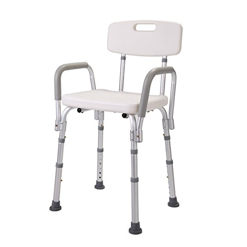 JAXPETY Shower Chair with Back - Bathtub Chair w/ Arms for Handicap