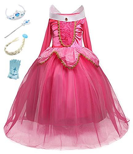 YOSICIL Disfraz de Princesa Aurora con Accesorios Niña ...