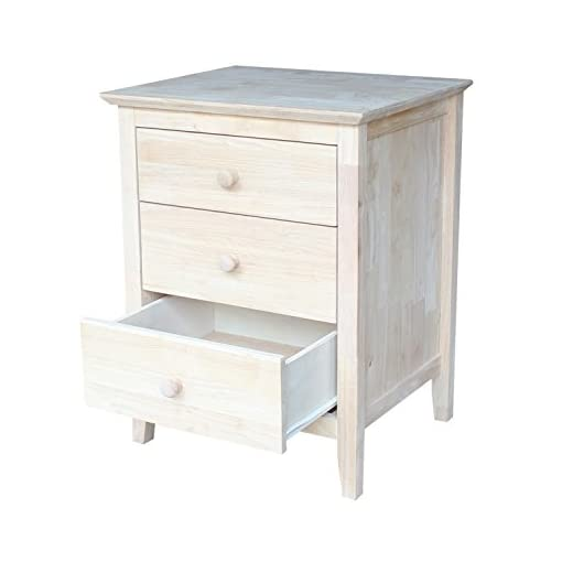 Bedroom International Concepts Nightstand with 3 Drawers, Standard farmhouse nightstands
