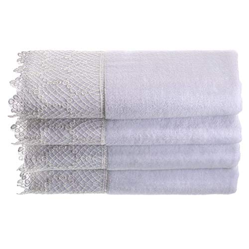 Lace Guest Towels - Creative Scents Fingertip Towels for Bathroom (11x18 inches) Towel Set of 4, Soft Velour Finish, Gorgeous Lace Trim, 100% Cotton, Machine Washable, Perfect for Guest Bathroom! (White)