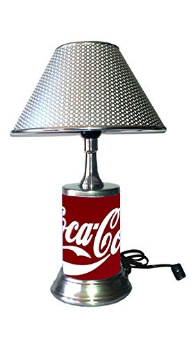 Table Lamp with Chrome Colored Shade, Coca-Cola Plate Rolled in on The lamp Base