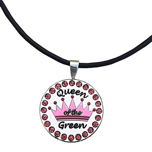 Giggle Golf Bling Pink Queen Of The Green Magnetic Ball Marker Necklace Diva Golf Stand Bag