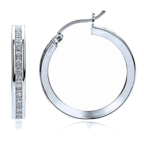 14K White Gold 2mm Intriguing Princess CZ Stone Channel Set Eternity Round Hoop Earrings, Size 12mm~40mm, 15