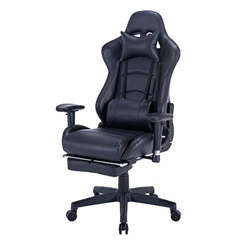 Blue Whale Back Massage Gaming Chair with Footrest,PC Computer Video Game Racing Gamer Chair High Back Reclining Executive Ergonomic Desk Office Chair with Headrest Lumbar Support Cushion (8262Black)