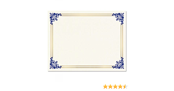 8-1//2 x 11 on 60 lb Text Parchment Paper Empire Blue Certificate on White Parchment Set of 100 Laser and Inkjet Printer Compatible