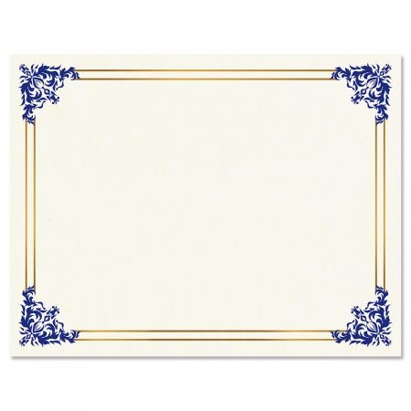 Empire Blue Certificate on White Parchment - Set of 25, 8-1/2'' x 11'' on 60 lb. Text Parchment Paper, Laser and Inkjet Printer Compatible