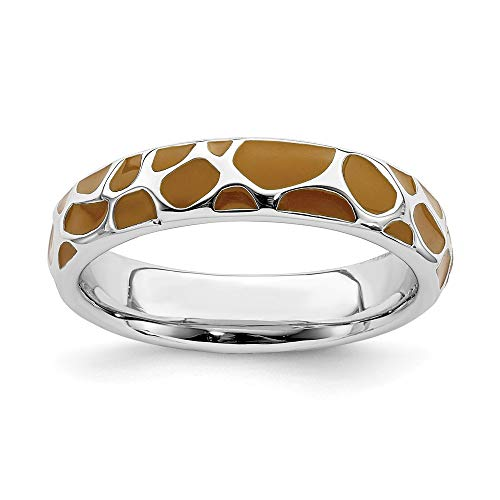 Stackable Expressions Sterling Silver Polished Enameled Giraffe Print Ring - Size 8