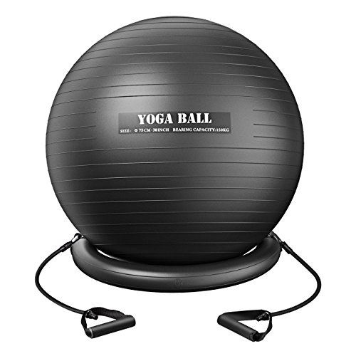 Mpow Exercise Ball (75cm), Anti-burst Yoga Ball for Health, Pilates, Core Power, Stretching and Physical Remedy, Balance Ball with Resistance Bands, Stability Ring and Pump for Office/Home/Gym – DiZiSports Store