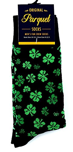 Men's Good Luck Black & Green Shamrock Fun Novelty Crew Dress Socks by Parqeut