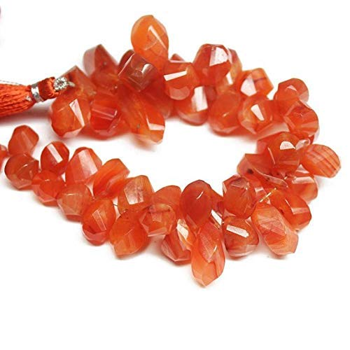 Natural Carnelian Faceted Twisted Tear Drop Briolette Gemstone Craft Loose Beads Strand 8