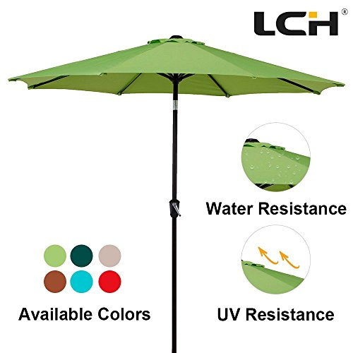LCH 9 Ft Patio Umbrella Outdoor Sun Shelter Aluminum 8 Ribs Parasol Table Market Hanging Umbrella Tilt Push Button- Easy Crank Open with Sturdy Pole for Backyard Garden and Pool, Lime Green