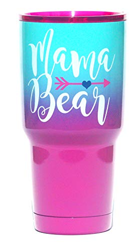 30oz Large Mama Bear Travel Tumbler | Temperature-Regulated | Stainless Steel Insulated Metal Cup | Pink Purple Teal | Purple Lid | Women, Mom Life, Birthday, Mother's Day