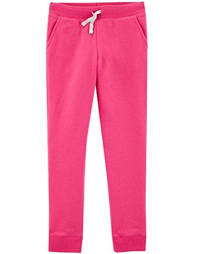 OshKosh B'Gosh Girls' Kids Fleece Jogger Pants, Pink Noveau, 10-12