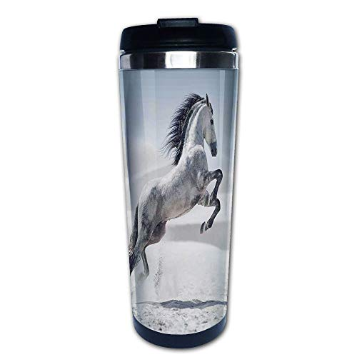 Stainless Steel Insulated Coffee Travel Mug,Galloping over Motion Majestic Wild Animal Power,Spill Proof Flip Lid Insulated Coffee cup Keeps Hot or Cold 13.6oz(400 ml) Customizable printing