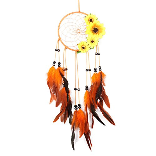 Olpchee Handmade Dream Catchers with Feathers Sunflower Wall Hanging Decoration Ornament Gift for Car, Balcony, Bedroom, Living Room Orange