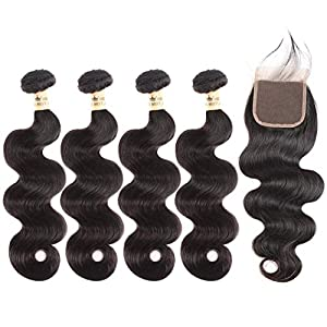 Peruvian Body Wave 4 Bundles With Closure 4X4 Lace Human Hair Bundles With Closure Swiss Lace Remy Hair Hair Middle Part…