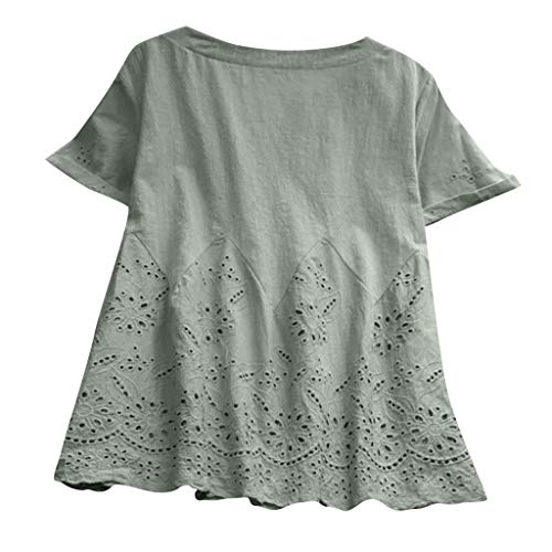 ❤LOVESOO Women's Casual Hollow Out Tunic Tops Short Sleeve O-Neck A Line T-Shirt Blouses Plus Size Loose Blouse Green