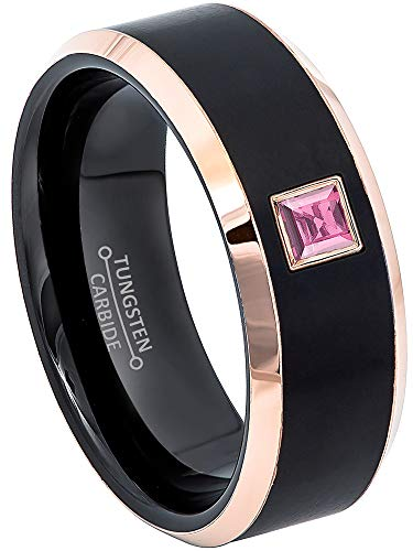 0.10ctw Solitaire Princess Cut Pink Tourmaline Tungsten Ring - 8MM Brushed 2-Tone Rose Gold Tungsten Carbide Wedding Band - October Birthstone Ring - s8.5 ()