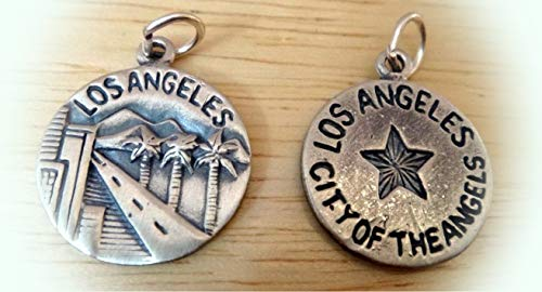 (1 Sterling Silver 16mm Los Angeles says City of The Angels Charm Double Sided Vintage Crafting Pendant Jewelry Making Supplies - DIY for Necklace Bracelet Accessories by CharmingSS)