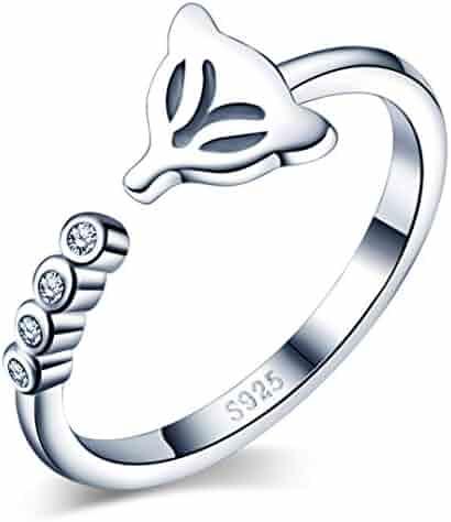 Infinite U Z Shaped Lightning 925 Sterling Silver Cubic Zirconia Adjustable Ring for Women//Girls Size 5.5-7.5