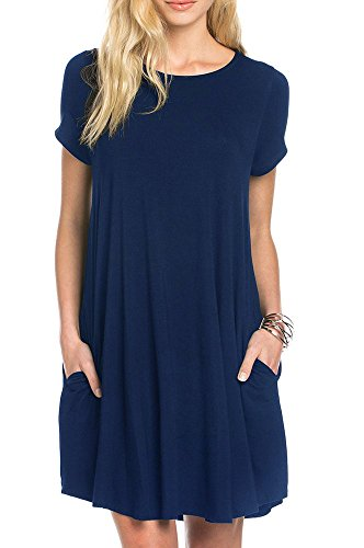 TINYHI Women's Swing Loose Short Sleeve Tshirt Fit Comfy Casual Flowy Tunic Dress,Navy Blue, Medium