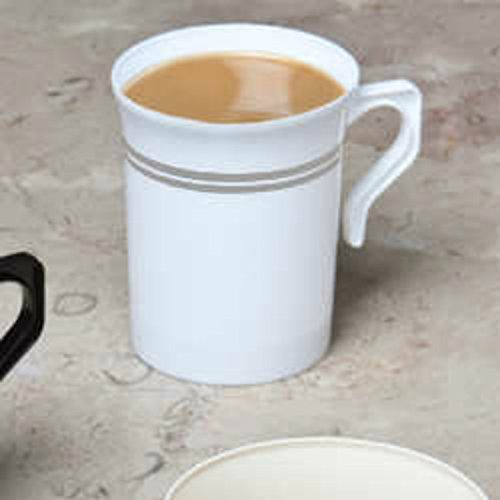 40 8 oz Plastic Coffee Cups Teacup White with Silver Rim Coffee Mugs Reusable Coffee Cup & Recyclable Disposable Coffee Cups Plastic Coffee Mugs Cappuccino Cups Mugs Espresso Cups Tea Cups/Handles (Plastic Mug China)