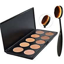 Lover Bar Cream Contour Kit-10 Colour Makeup Concealer Palette-Sleek Pigment Cosmetics Professional Base Foundation-Blemish ContouringCamouflageHighlighter Palette with Make Up Oval Toothbrush Brush by Lover Bar