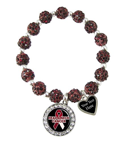 Holly Road Head and Neck Cancer Awareness Red Bling Stretch Bracelet Jewelry Choose Your Text ()