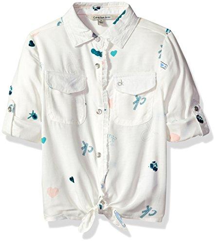 Calvin Klein Big Girls Allover Printed Tie-Front Shirt