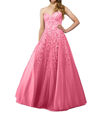 Abschlussballkleider Langes Abendkleider Spitze mia Promkleider Brau Partykleider Tuell Wassermelon Prinzess La Tanzenkleider nfw8xpZqn